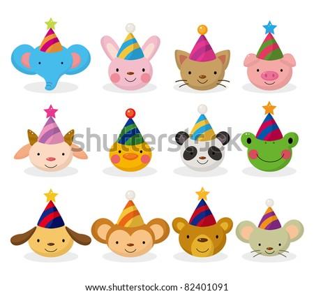 cartoon party animal head icon set - stock vector