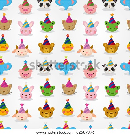 Cartoon party animal head seamless pattern - stock vector