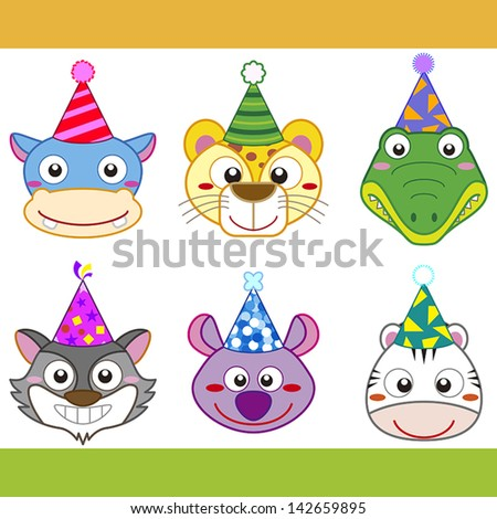 cartoon party animal icons collection. - stock vector