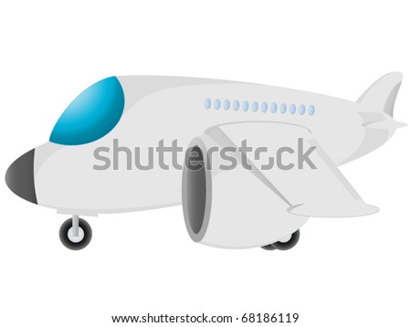 cartoon passenger airplane isolated on white background - stock vector