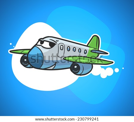 cartoon passenger plane - stock vector