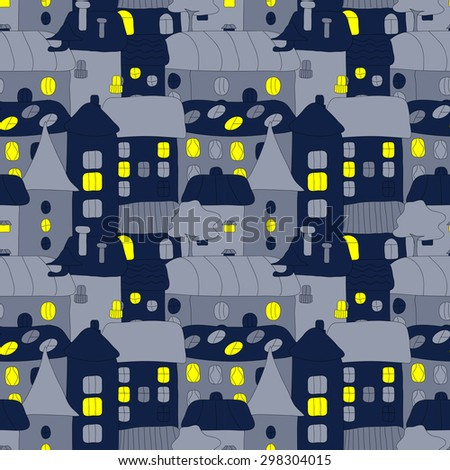 Cartoon pattern with tiny vector houses and trees at night. Hand drawn seamless ornament can be used for web page textured backgrounds, pattern fills, design projects, textile, wrapping, wallpaper - stock vector