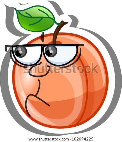 Cartoon peach - stock vector