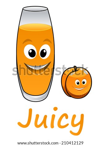 Cartoon peach or apricot fruit and juice glass, suitable for beverage and drink design - stock vector