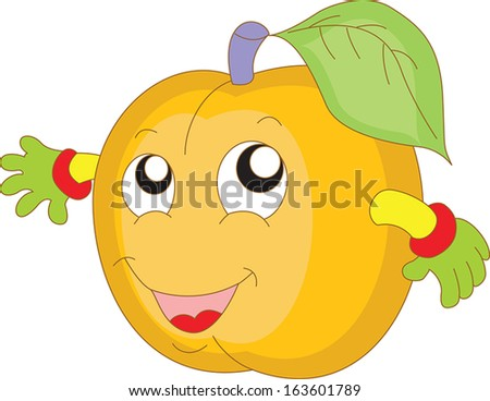 Cartoon peach with emotions - stock vector