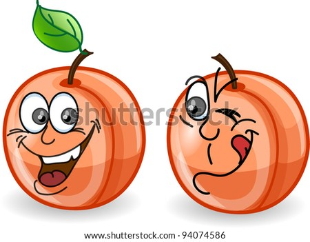 Cartoon peaches with emotions - stock vector