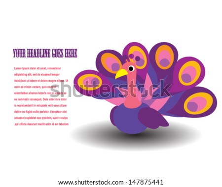 Cartoon Peacock - stock vector