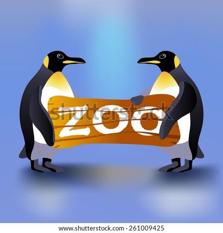Cartoon penguin holding wooden zoo plate. Wild animal - stock vector