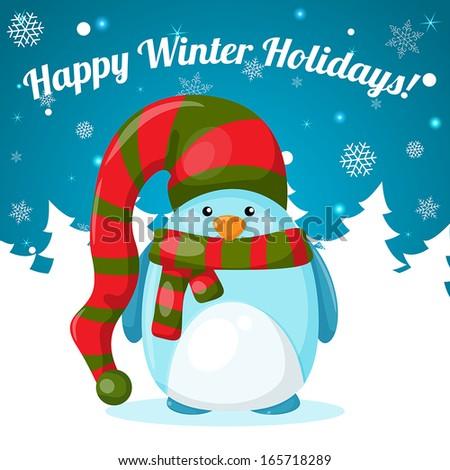 Cartoon penguin on snowflake background. - stock vector