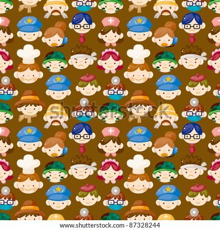 cartoon people face seamless pattern - stock vector