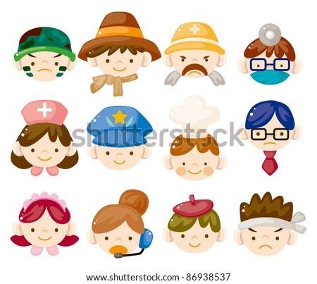 cartoon people job face icons - stock vector