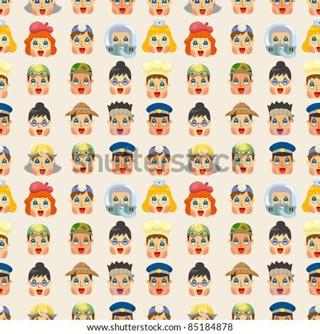 cartoon people job face seamless pattern - stock vector