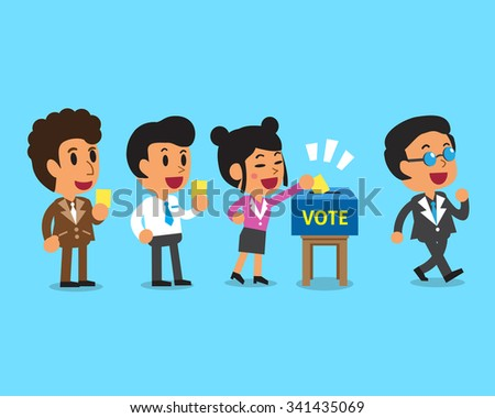 Cartoon people putting voting paper in the ballot box - stock vector