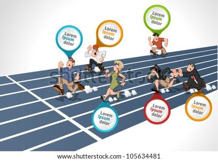 Cartoon people running. High speed race. - stock vector