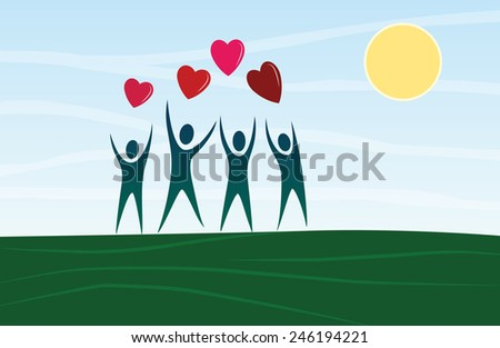 Cartoon people silhouettes with heart-shapes balloons - stock vector