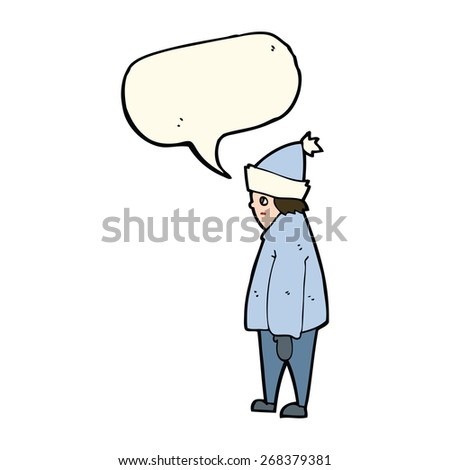 cartoon person in winter clothes with speech bubble - stock vector