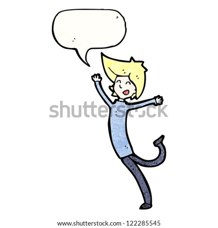 cartoon person jumping for joy - stock vector