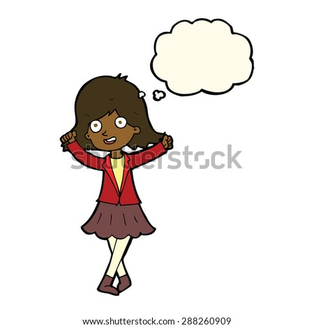 cartoon person with thought bubble - stock vector