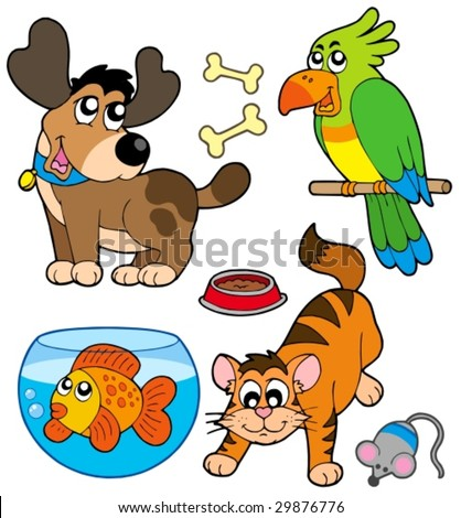 Cartoon pets collection - vector illustration. - stock vector