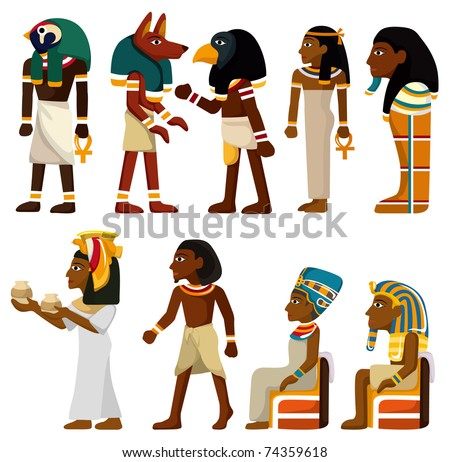 cartoon pharaoh icon - stock vector