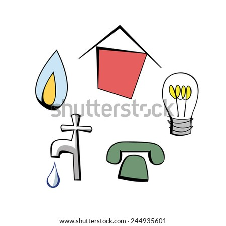 Cartoon pictures of a house, gas flame, light bulb, tap and telephone symbols - stock vector