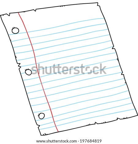 Cartoon piece of three-holed, lined binder paper.