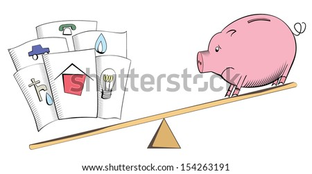 Cartoon pig and bills on a see-saw balance or scales - stock vector