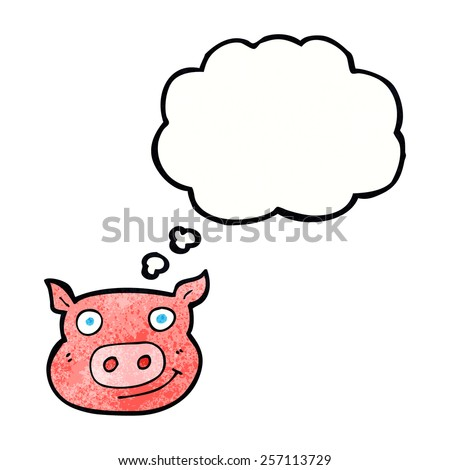 cartoon pig face with thought bubble
