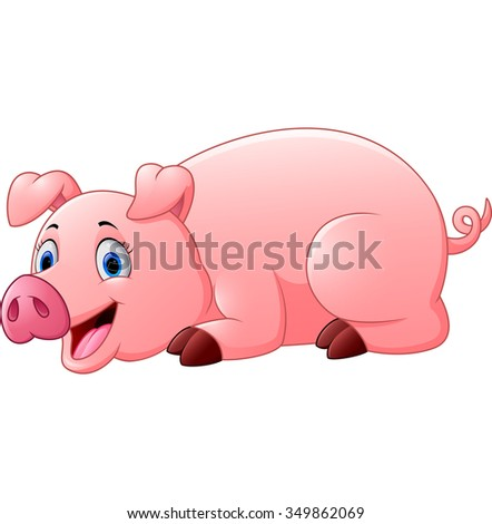 cartoon pig lay down