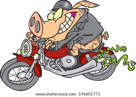 cartoon pig riding a motorcycle - stock vector