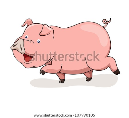 Cartoon pig vector - stock vector