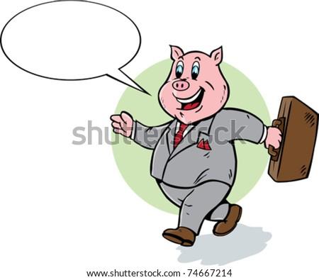 Cartoon pig walking and talking. - stock vector