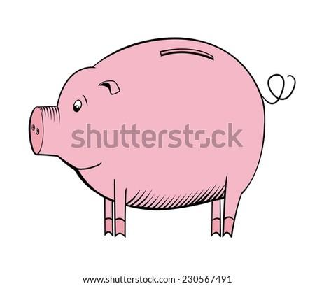Cartoon piggy bank - stock vector