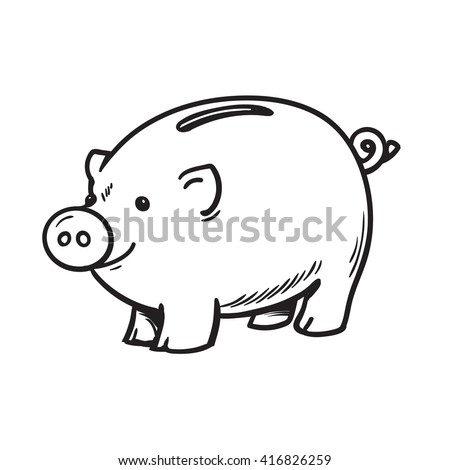Cartoon piggy bank Isolated vector illustration on white background Black and white sketch of happy funny piggy bank Banking and saving money concept