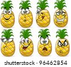 Cartoon pineapples with emotions - stock vector