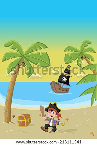 Cartoon pirate boy on a beautiful tropical beach - stock vector