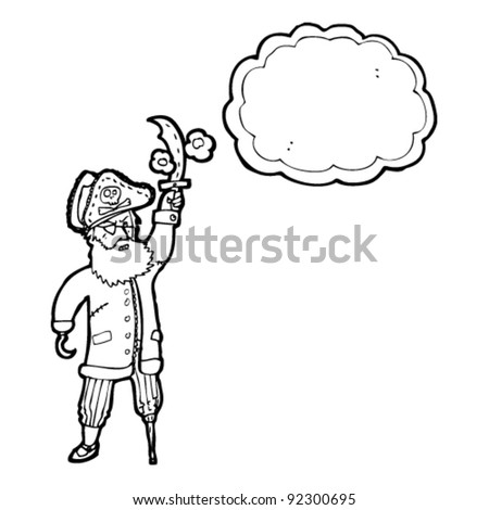 cartoon pirate captain with thought bubble - stock vector
