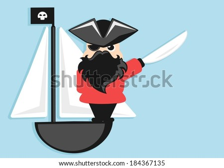 cartoon pirate character on a sailboat - stock vector