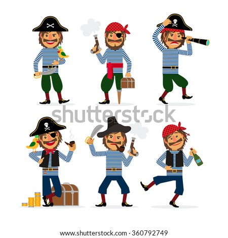 Cartoon pirate characters with pistol and rum and parrot. Vector illustration. - stock vector