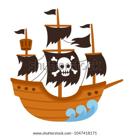Cartoon pirate ghost ship illustration with skull flag and torn black sails cute vector drawing