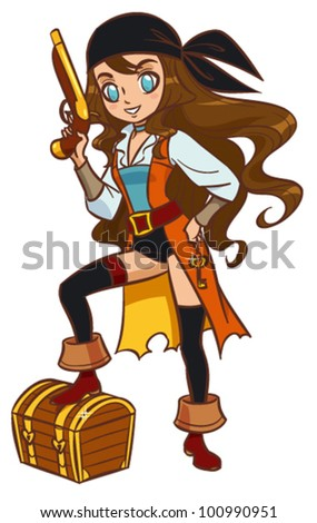 Cartoon pirate girl with powder gun and treasure chest - stock vector