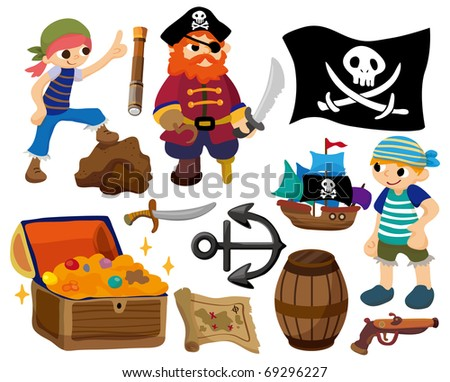 cartoon pirate icon - stock vector