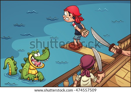 Cartoon pirate kid walking the plank. Vector clip art illustration with simple gradients. Characters and background on separate layers.