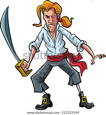 Cartoon pirate mate swordsman with a ponytail - stock vector