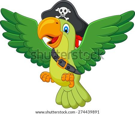 Cartoon pirate parrot - stock vector