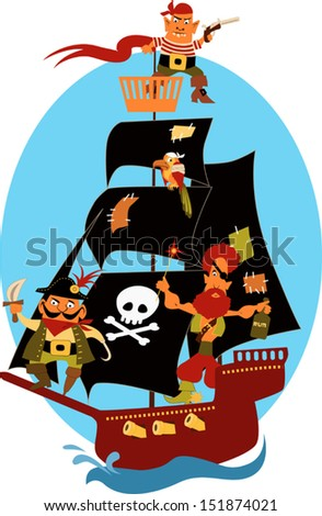 Cartoon pirate ship with cute pirates and a parrot, sailing under black sails - stock vector