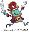 Cartoon Pirate Zombie With A Cutlass - stock vector