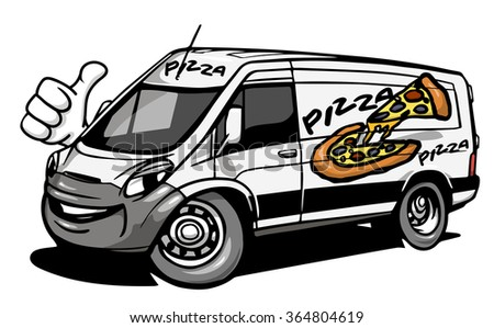 Cartoon pizza delivery car giving a thumb up. Vector illustration - stock vector