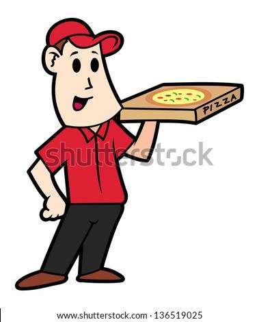 cartoon pizza delivery man - stock vector