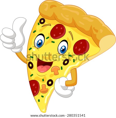 Cartoon pizza giving thumb up - stock vector